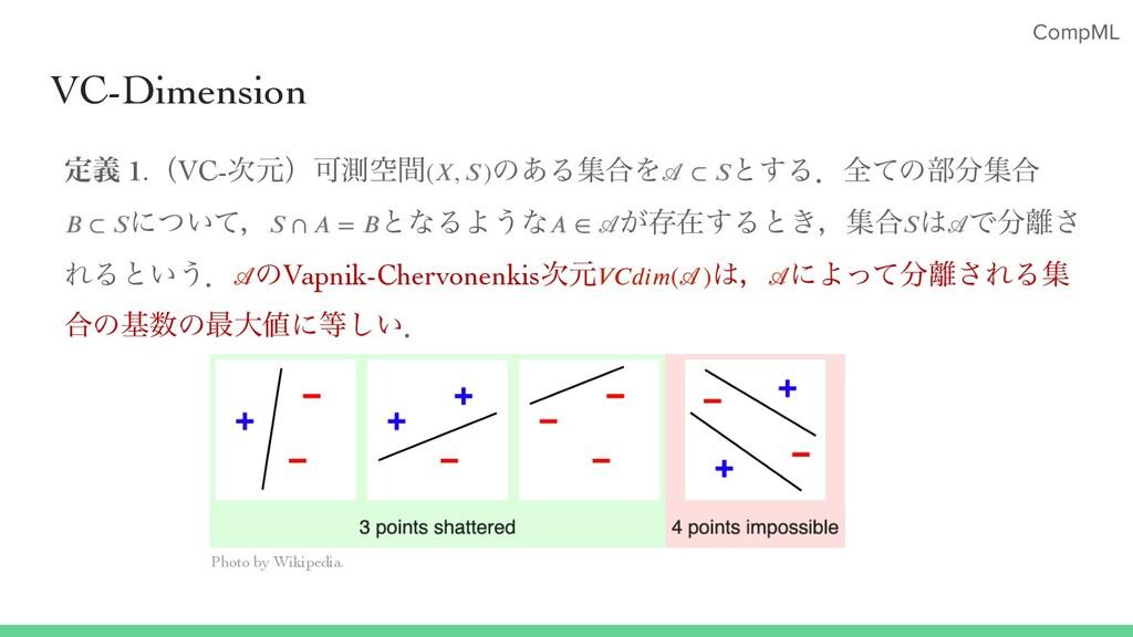 CompML VC-Dimension ఆٛ 1.ʢVC-ݩʣՄଌۭؒ ͷ͋Δू߹Λ ͱ͢Δ...