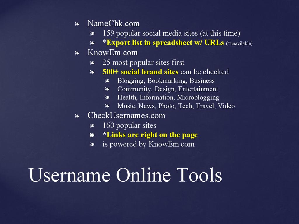 Username Online Tools ❧ NameChk.com ❧ 159 popul...