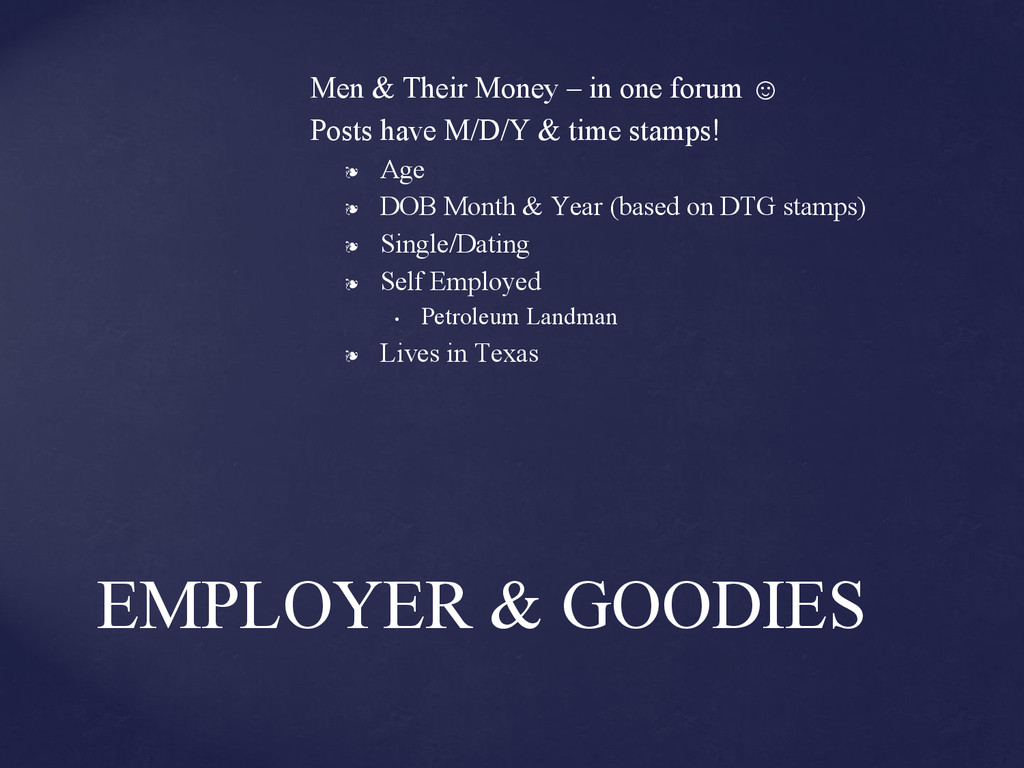 Men & Their Money – in one forum ☺ Posts have M...