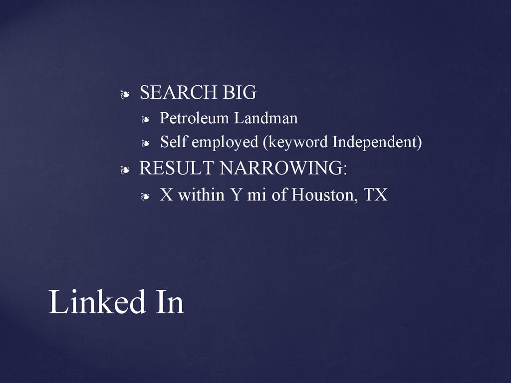 ❧ SEARCH BIG ❧ Petroleum Landman ❧ Self employe...
