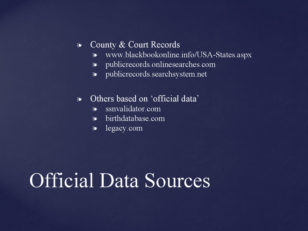 Official Data Sources ❧ County & Court Records ...