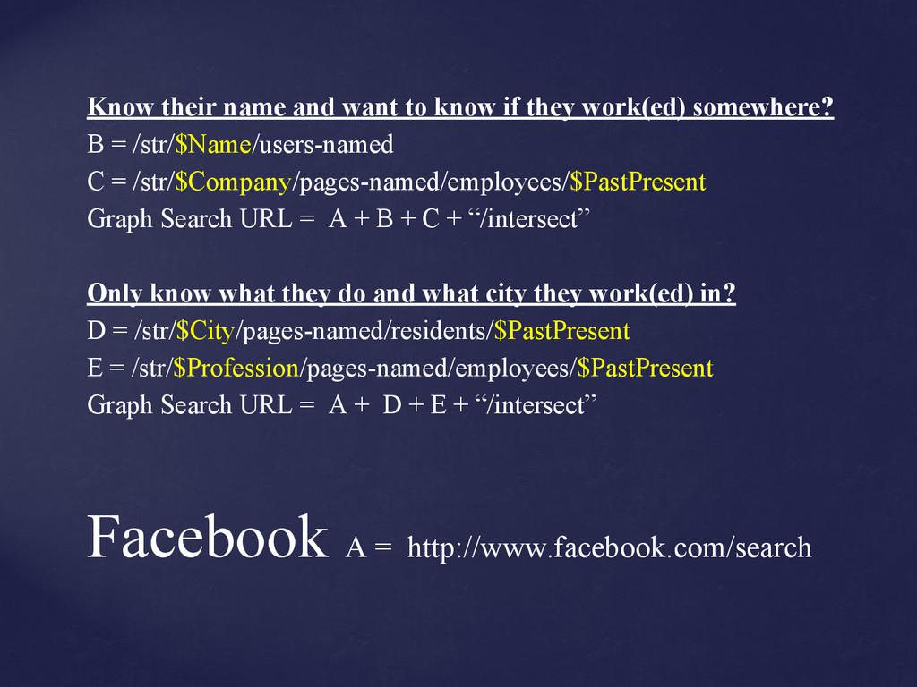 Facebook A = http://www.facebook.com/search Kno...
