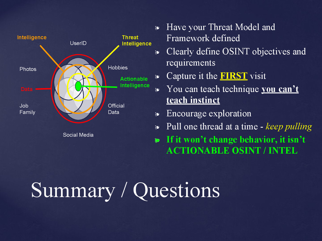 ❧ Have your Threat Model and Framework defined ...