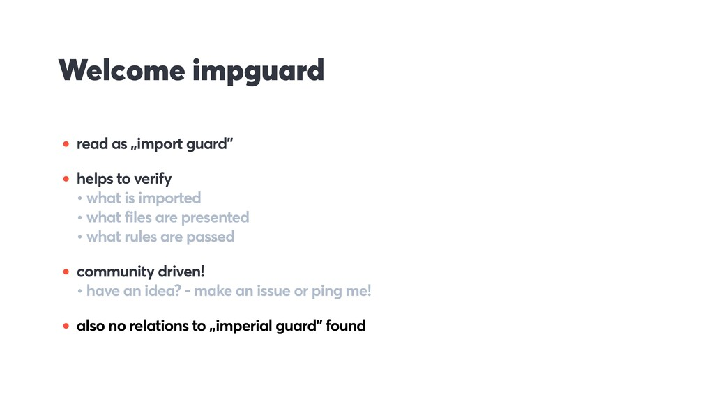 "Welcome impguard • read as ""import guard"" • hel..."