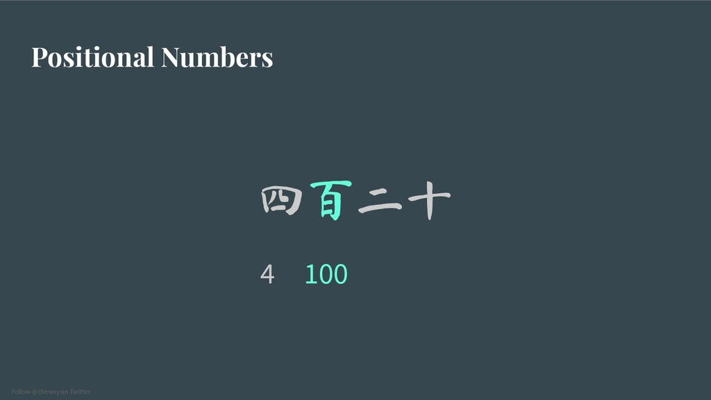 Follow @chewxy on Twitter Positional Numbers 四百...
