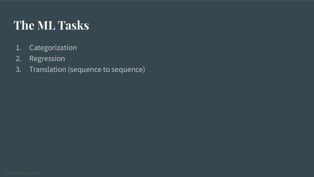 Follow @chewxy on Twitter The ML Tasks 1. Categ...