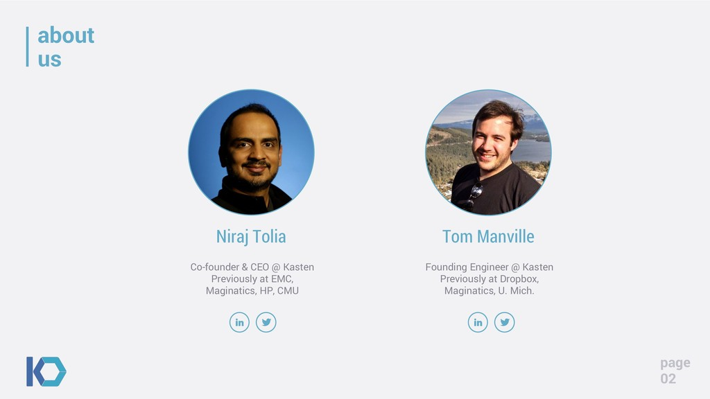 about us page 02 Niraj Tolia Co-founder & CEO @...