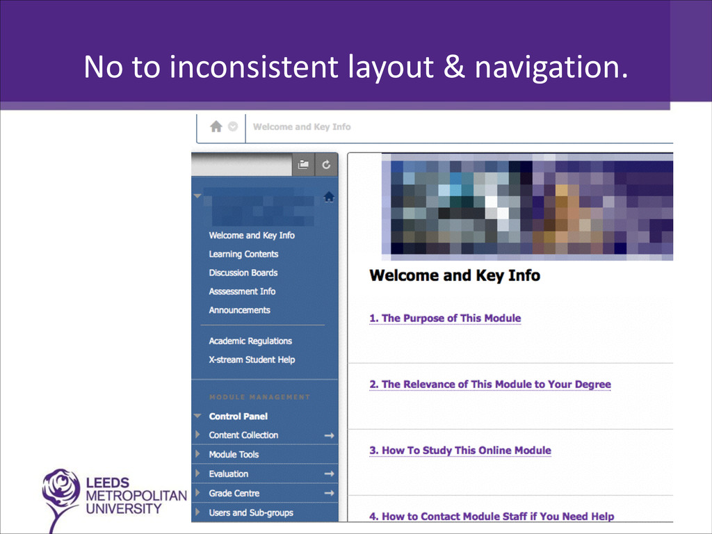 No to inconsistent layout & navi...