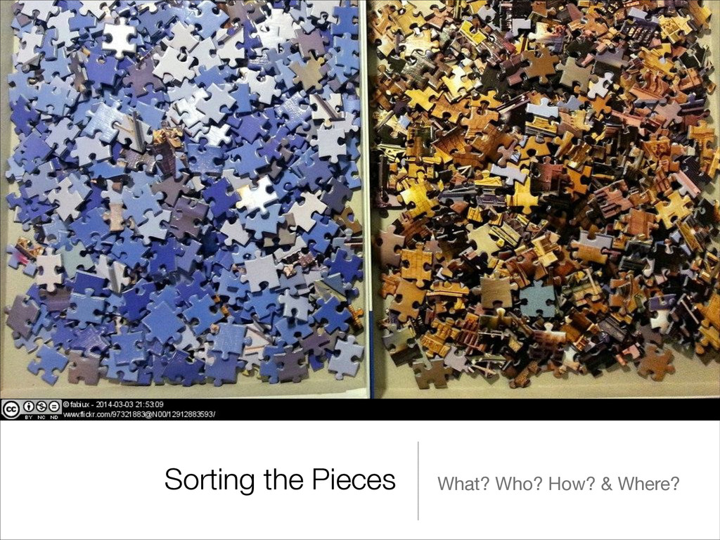 Sorting the Pieces What? Who? How? & Where?