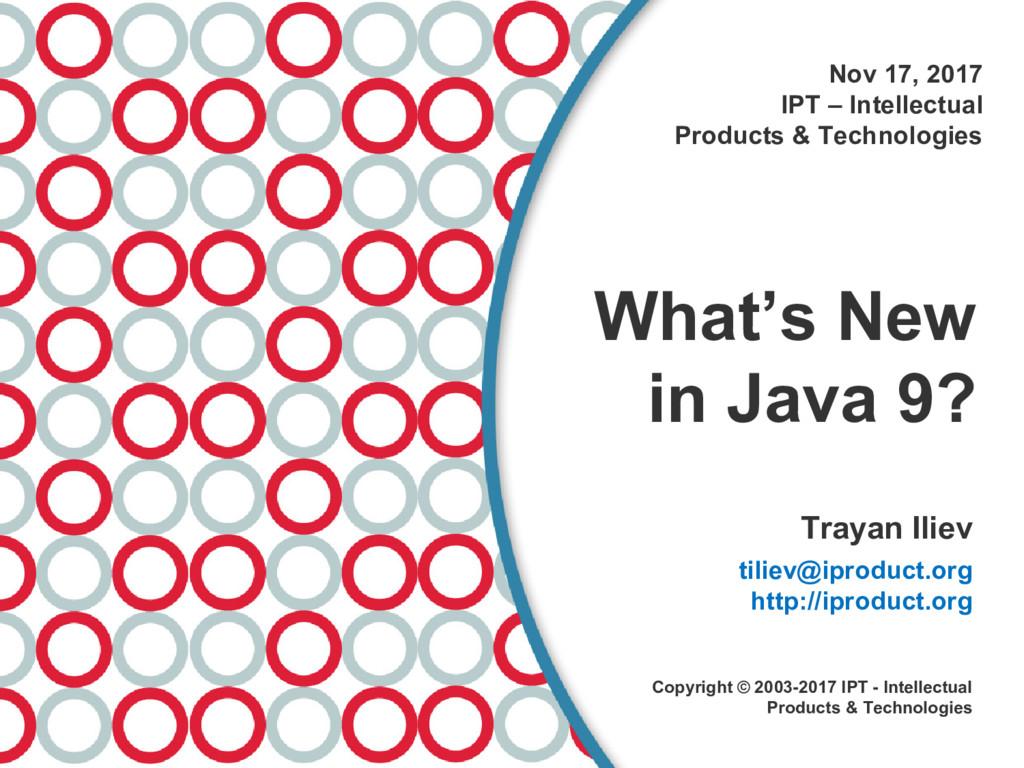 Nov 17, 2017 IPT – Intellectual Products & Tech...