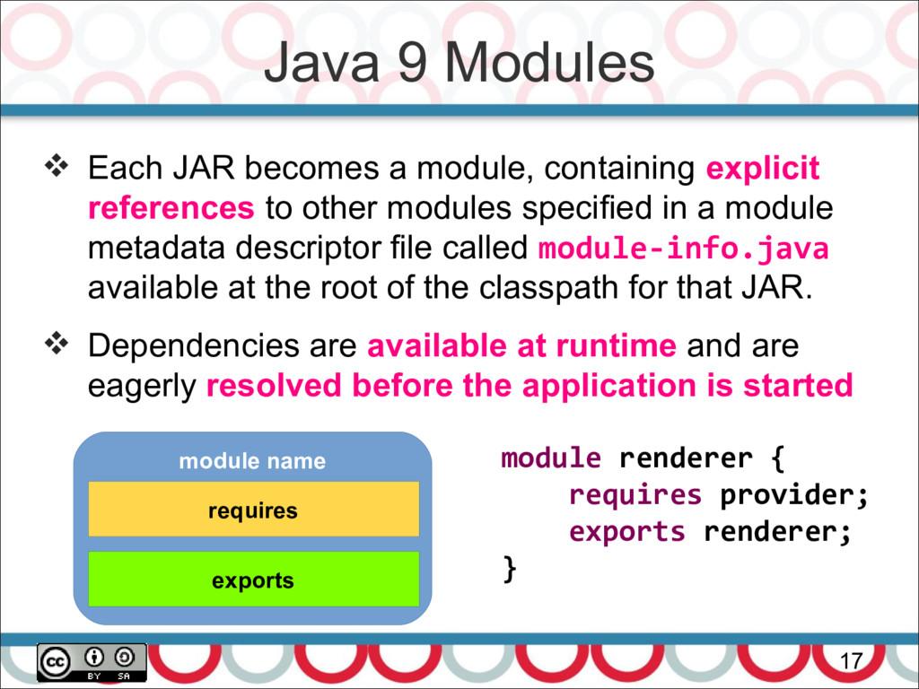 Java 9 Modules 17  Each JAR becomes a module, ...