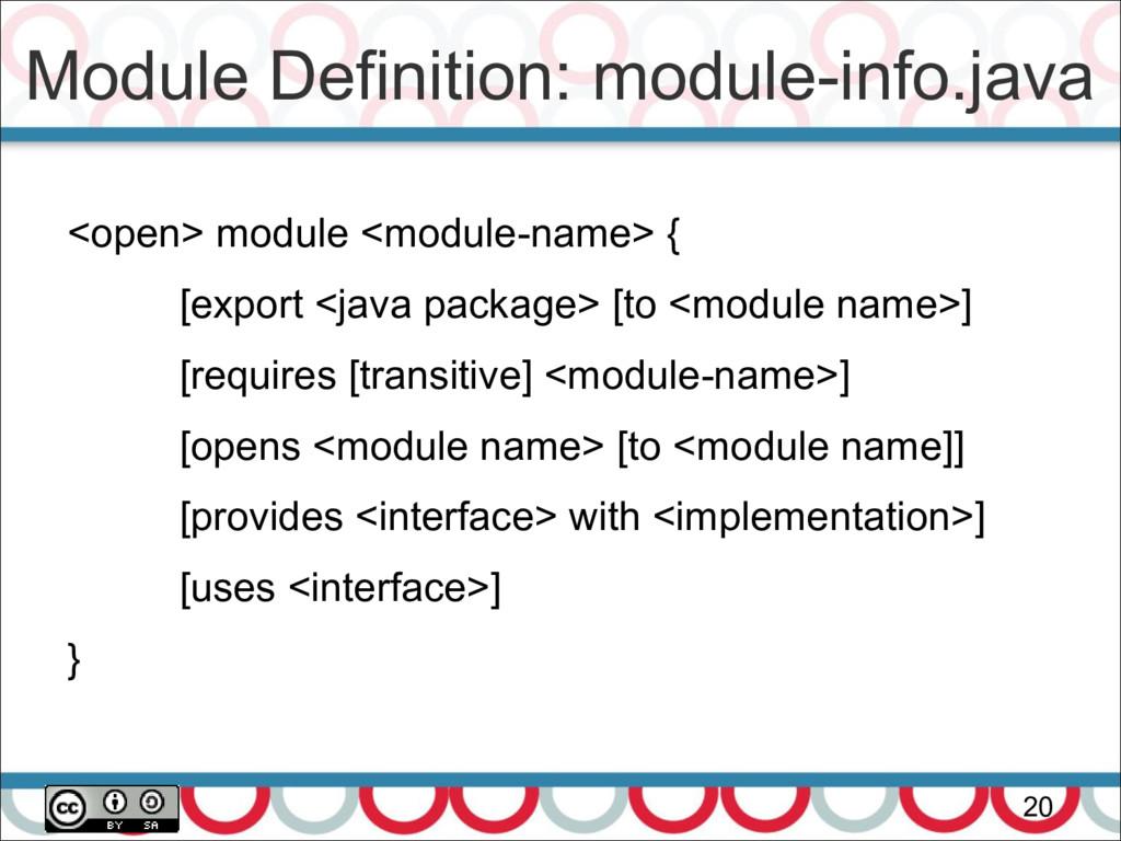 Module Definition: module-info.java 20 <open> m...