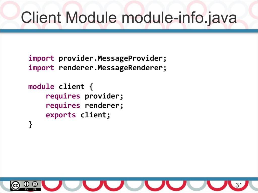 Client Module module-info.java 31 import provid...