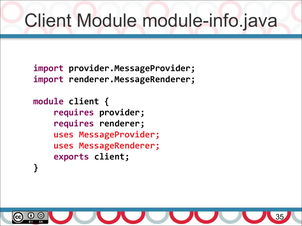 Client Module module-info.java 35 import provid...