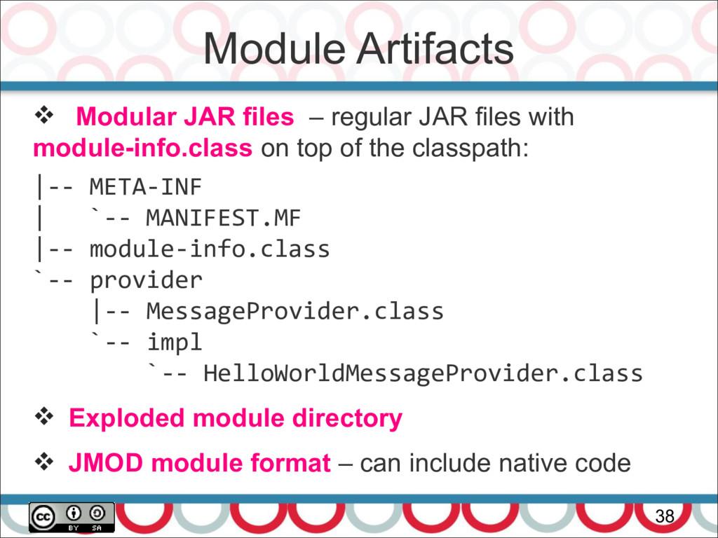 Module Artifacts 38  Modular JAR files – regul...