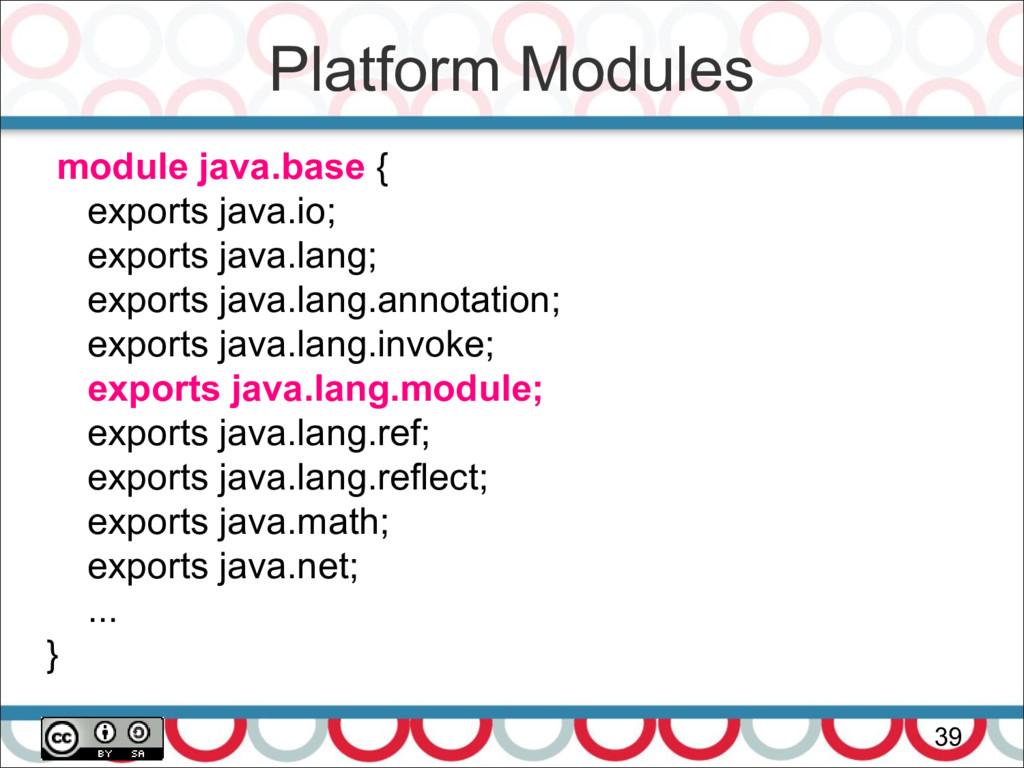 Platform Modules 39 module java.base { exports ...