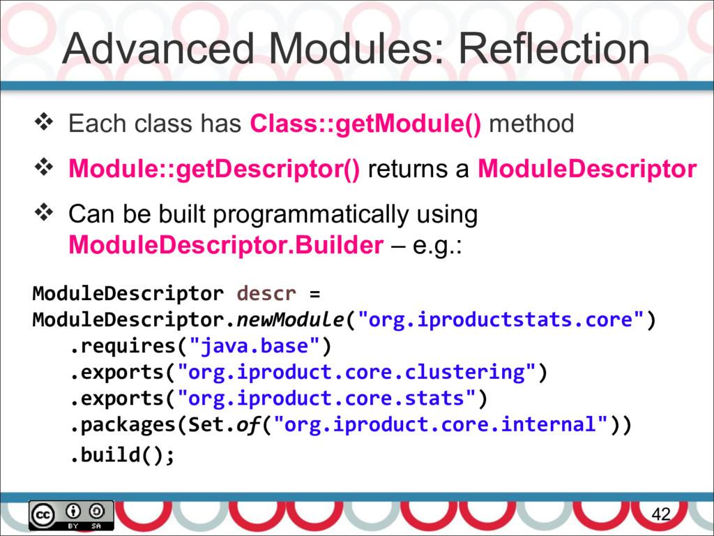 Advanced Modules: Reflection 42  Each class ha...