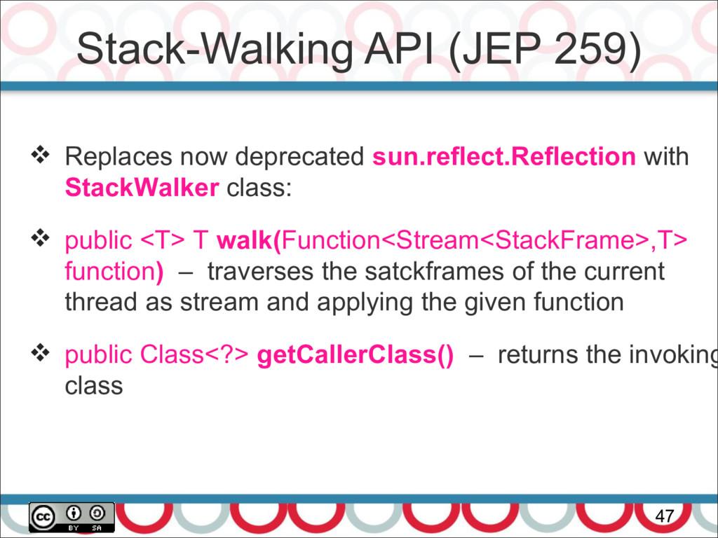 Stack-Walking API (JEP 259) 47  Replaces now d...
