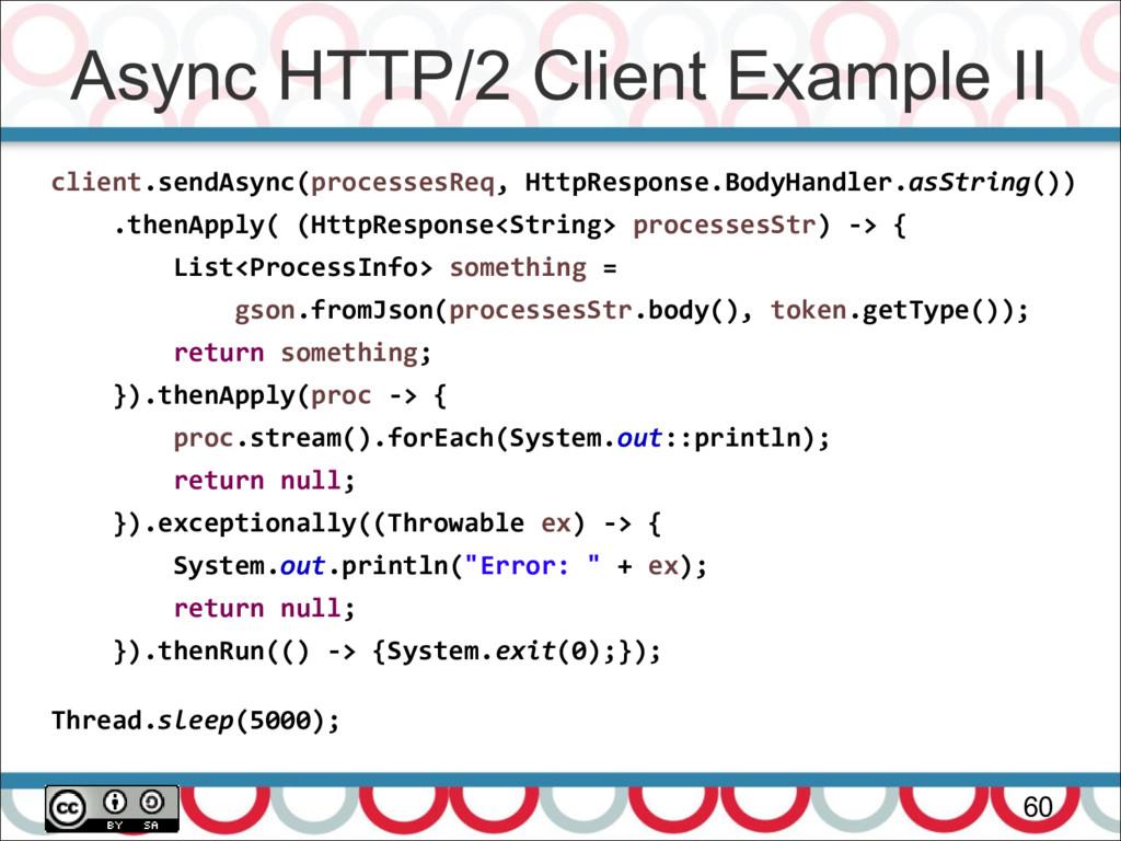 Async HTTP/2 Client Example II 60 client.sendAs...
