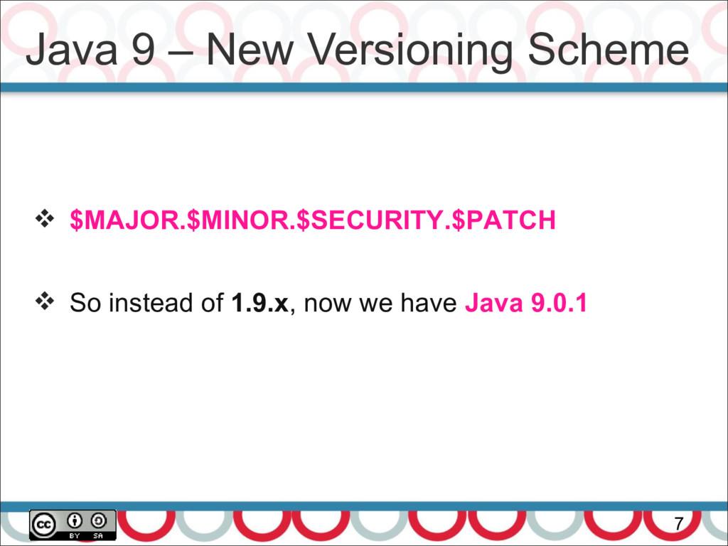 Java 9 – New Versioning Scheme 7  $MAJOR.$MINO...