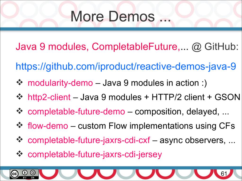 More Demos ... 61 Java 9 modules, CompletableFu...