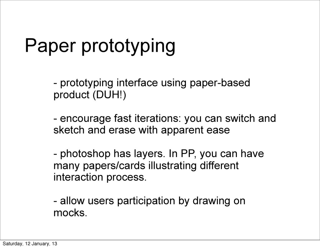 Paper prototyping - prototyping interface using...