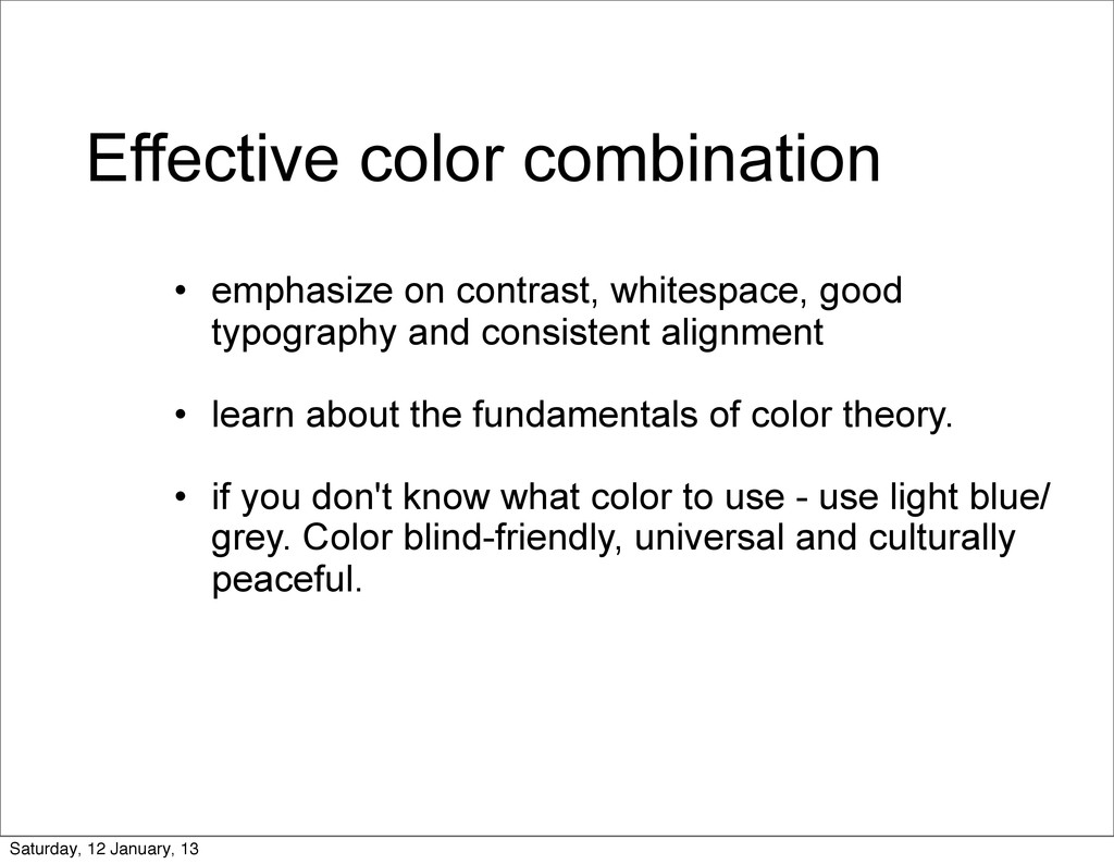 Effective color combination • emphasize on cont...