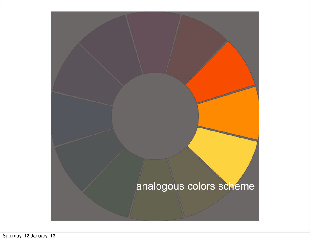 analogous colors scheme Saturday, 12 January, 13