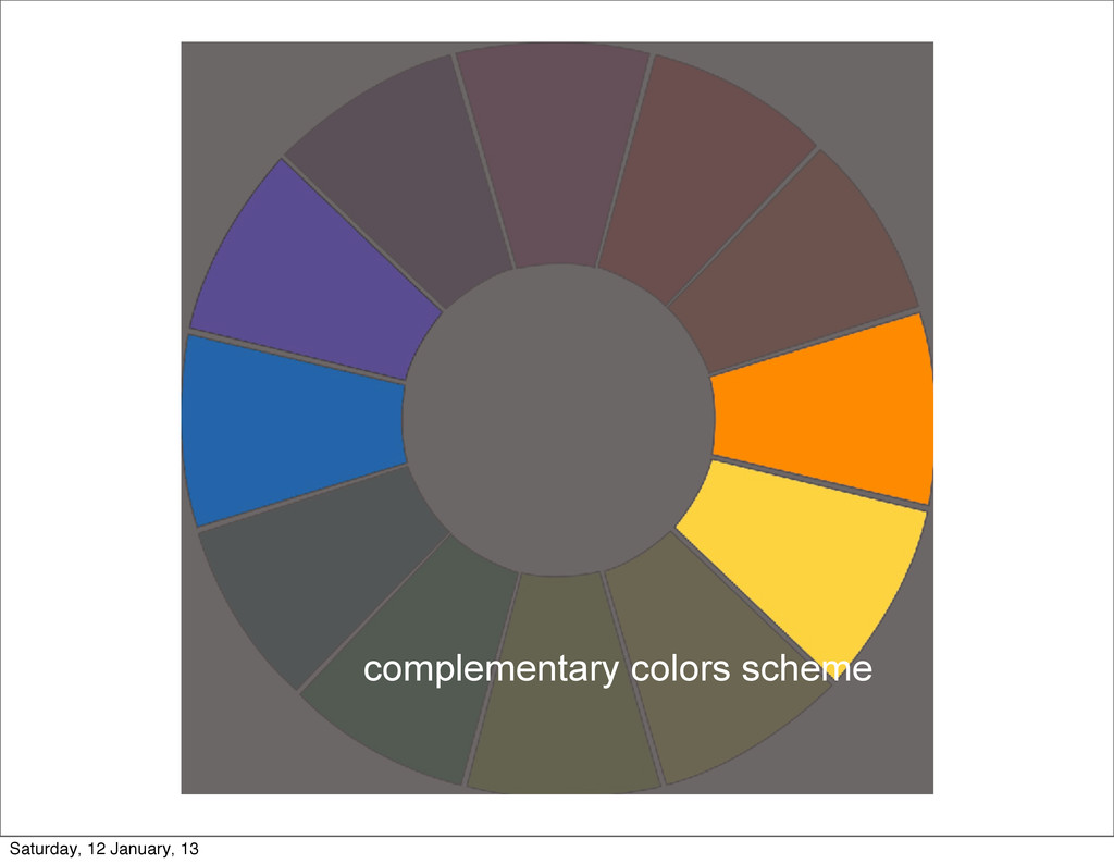 complementary colors scheme Saturday, 12 Januar...