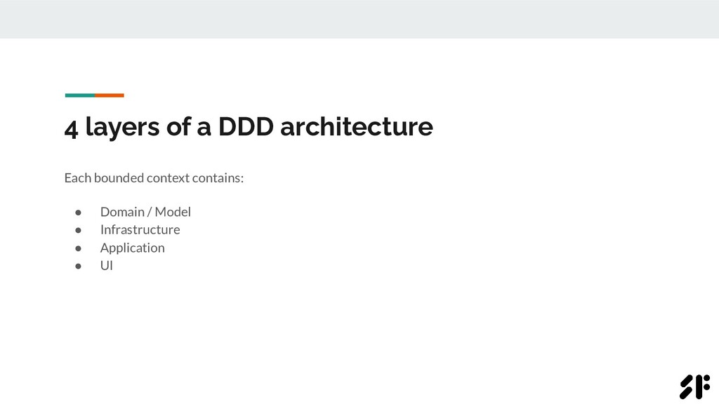 4 layers of a DDD architecture Each bounded con...