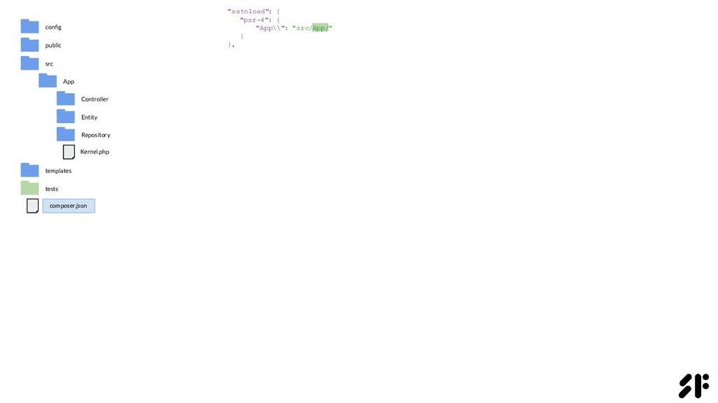 """""""autoload"""" : { """"psr-4"""": { """"App\\"""": """"src/App/"""" }..."""