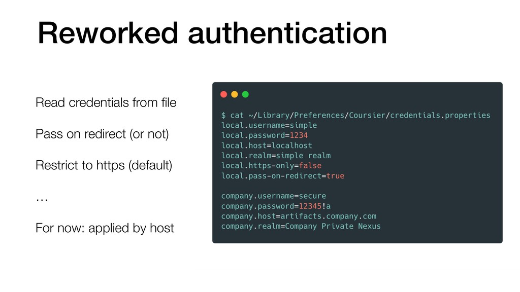 Reworked authentication Read credentials from fi...