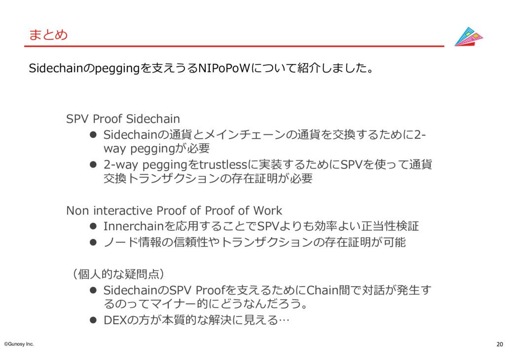 20 ©Gunosy Inc. まとめ SPV Proof Sidechain l Sidec...