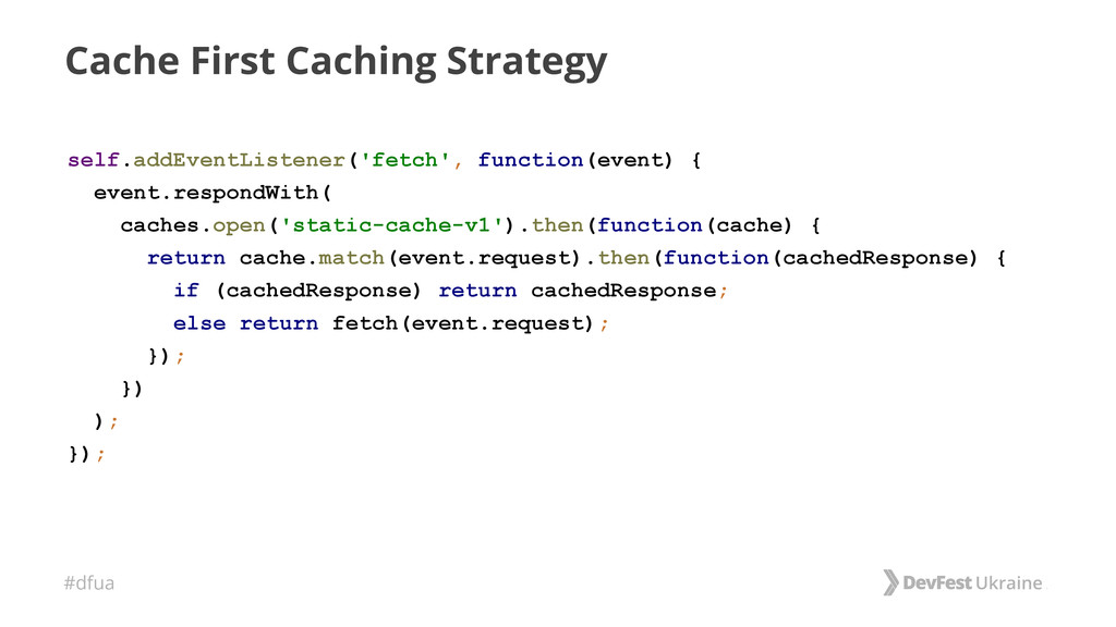 #dfua Cache First Caching Strategy self.addEven...