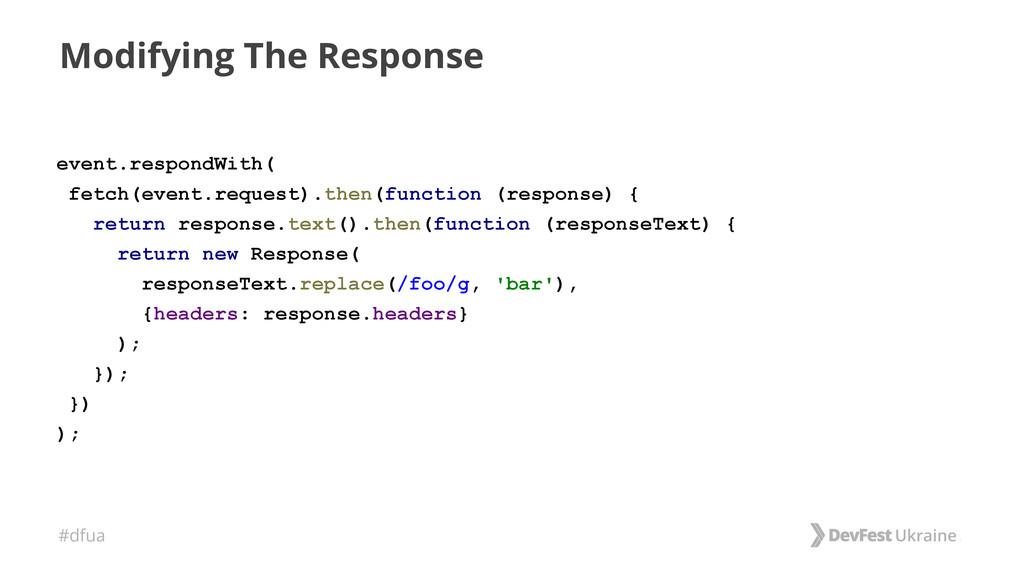 #dfua Modifying The Response event.respondWith(...