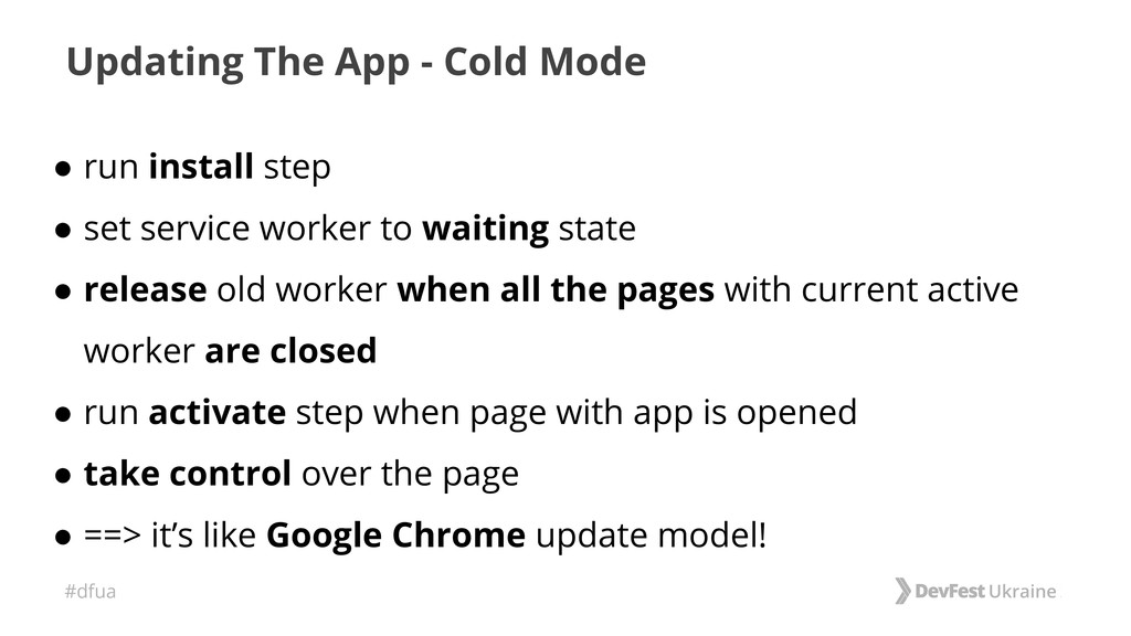 #dfua Updating The App - Cold Mode ● run instal...