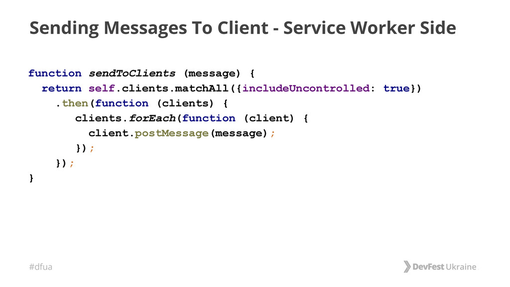 #dfua Sending Messages To Client - Service Work...