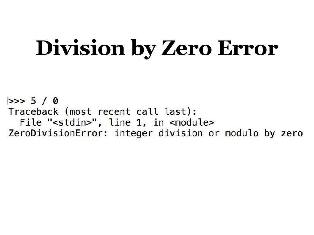 Division by Zero Error