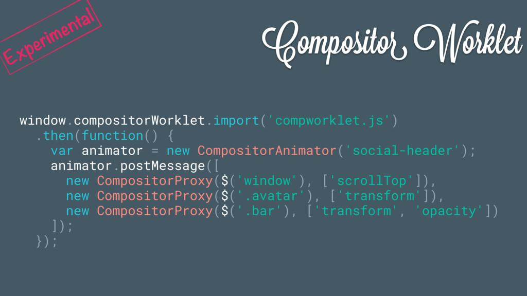 Compositor Worklet window.compositorWorklet.imp...