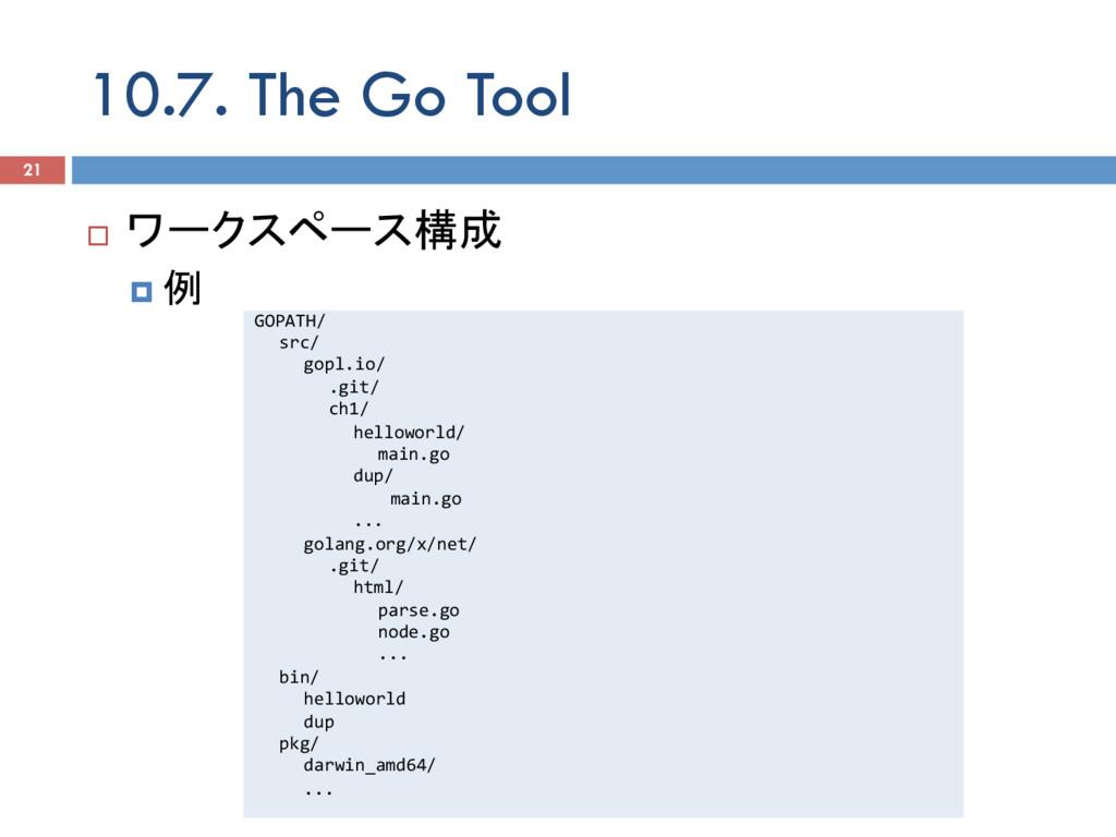 10.7. The Go Tool 21 ¨ ワークスペース構成 ¤ 例 GOPATH/ ...