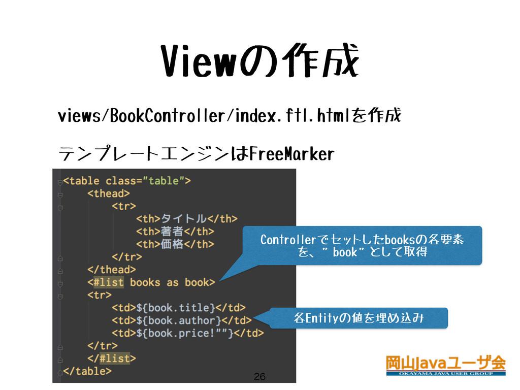 Viewの作成 • views/BookController/index.ftl.htmlを作...