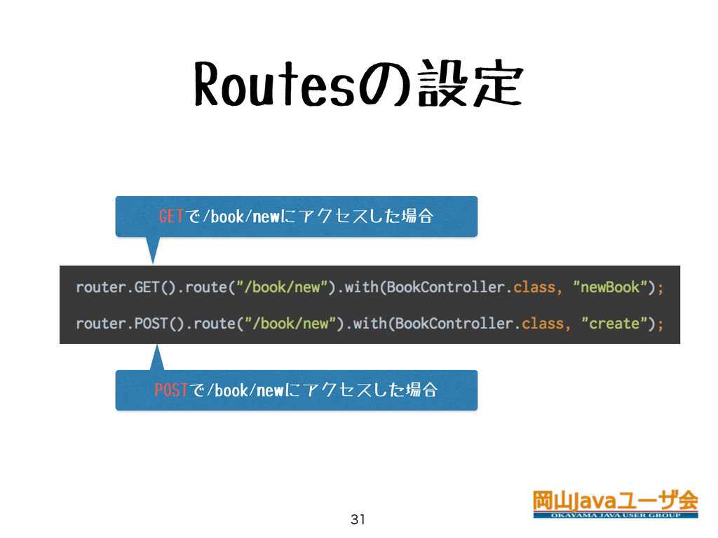 Routesの設定  GETで/book/newにアクセスした場合 POSTで/book/...