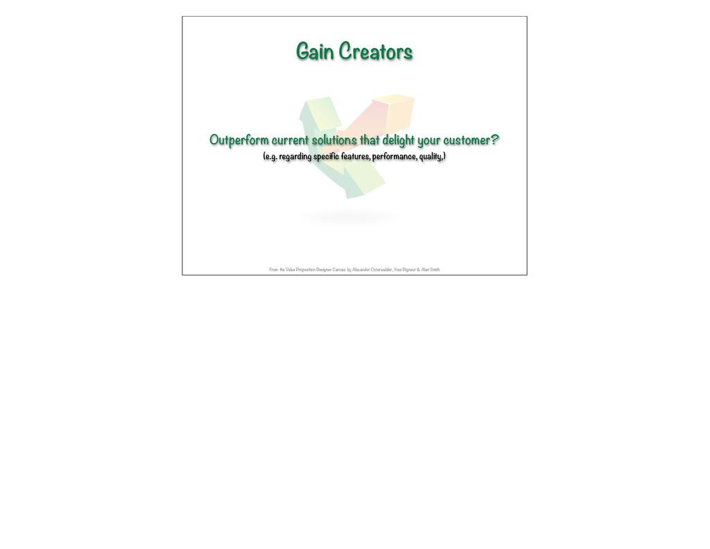 Gain Creators Outperform current solutions that...
