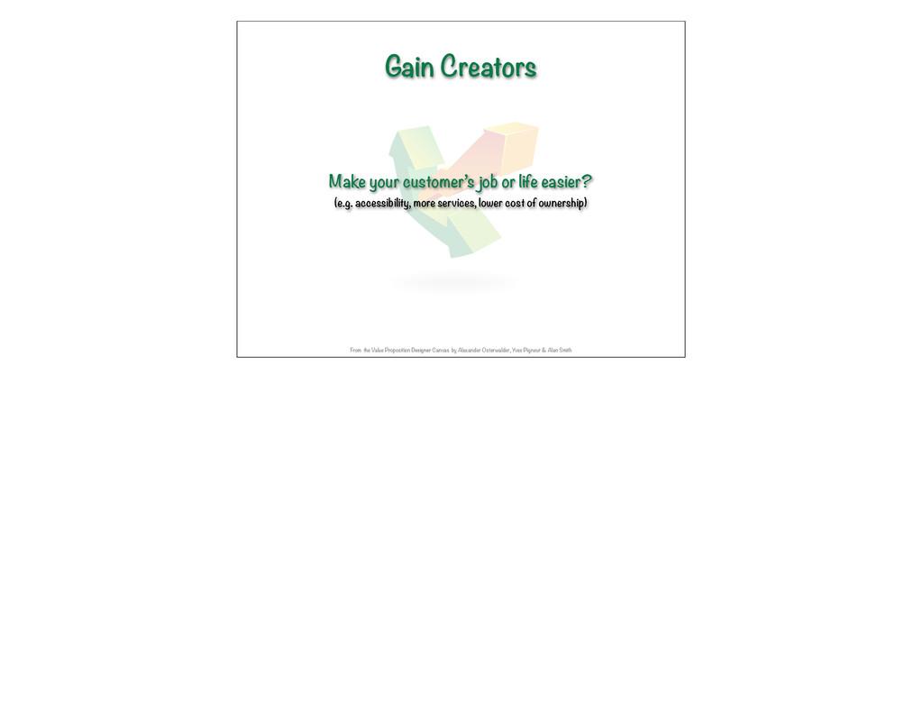 Gain Creators Make your customer's job or life ...