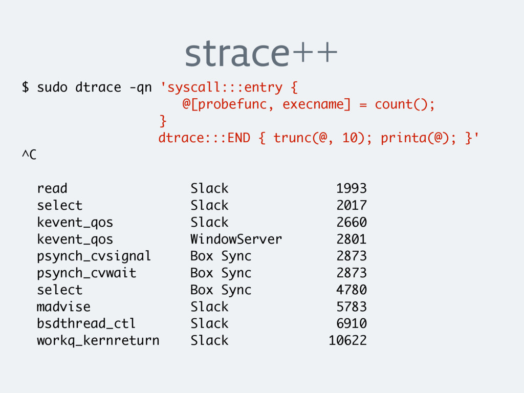 strace++ $ sudo dtrace -qn 'syscall:::entry { @...
