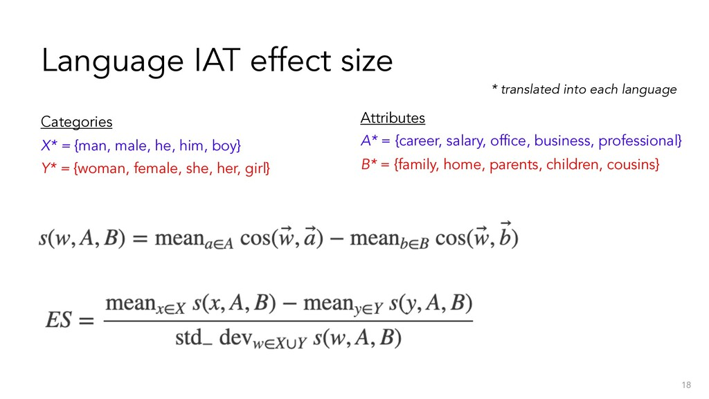 Language IAT effect size 18 Categories X* = {ma...