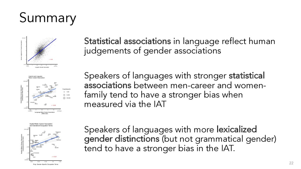 Summary Statistical associations in language re...