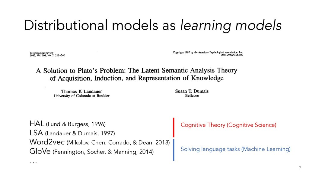 Distributional models as learning models 7 HAL ...