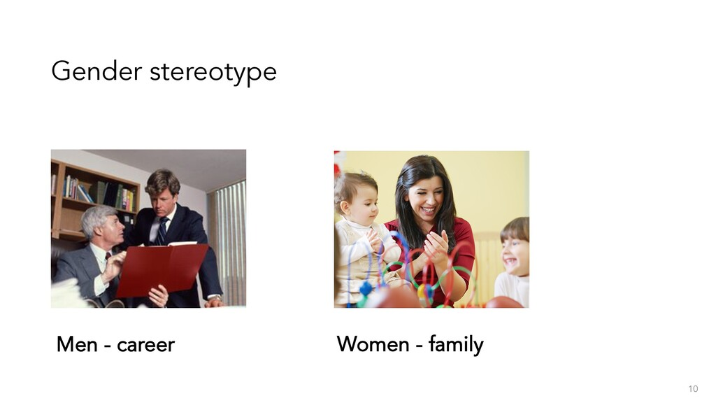 Gender stereotype 10 Men - career Women - family