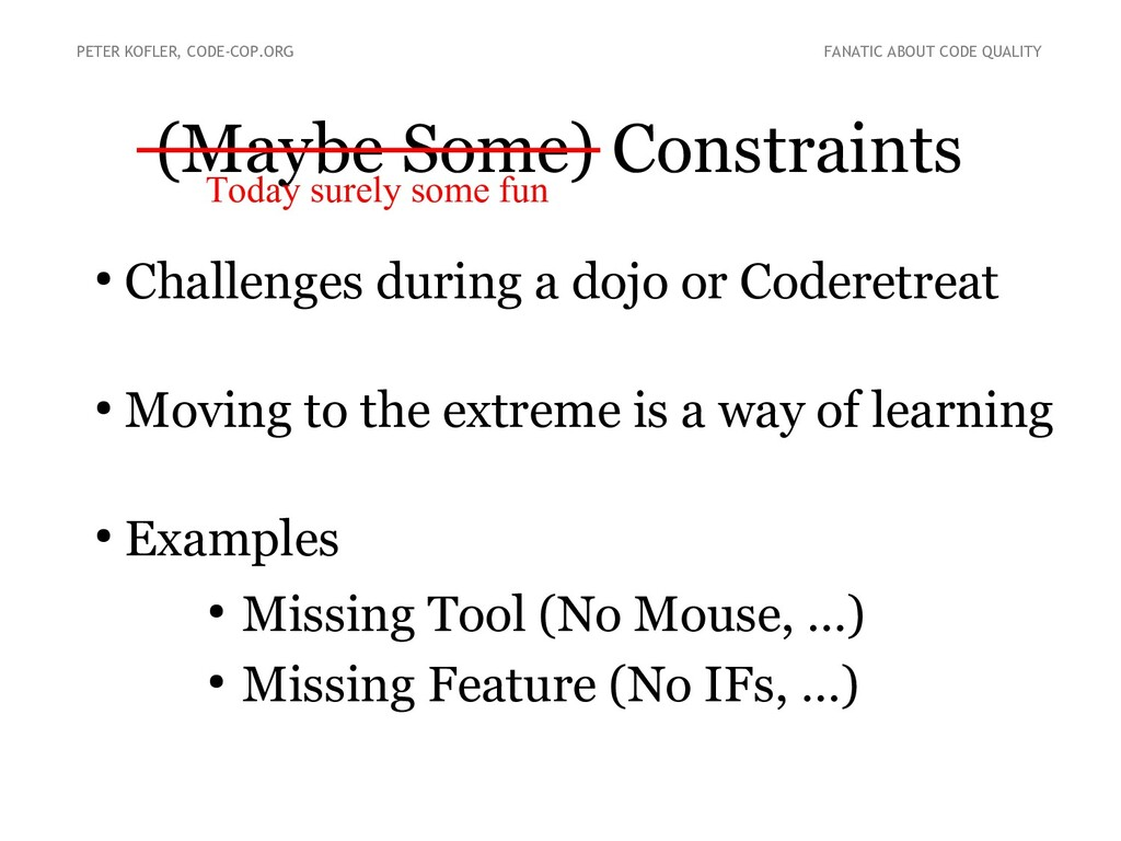 (Maybe Some) Constraints ● Challenges during a ...